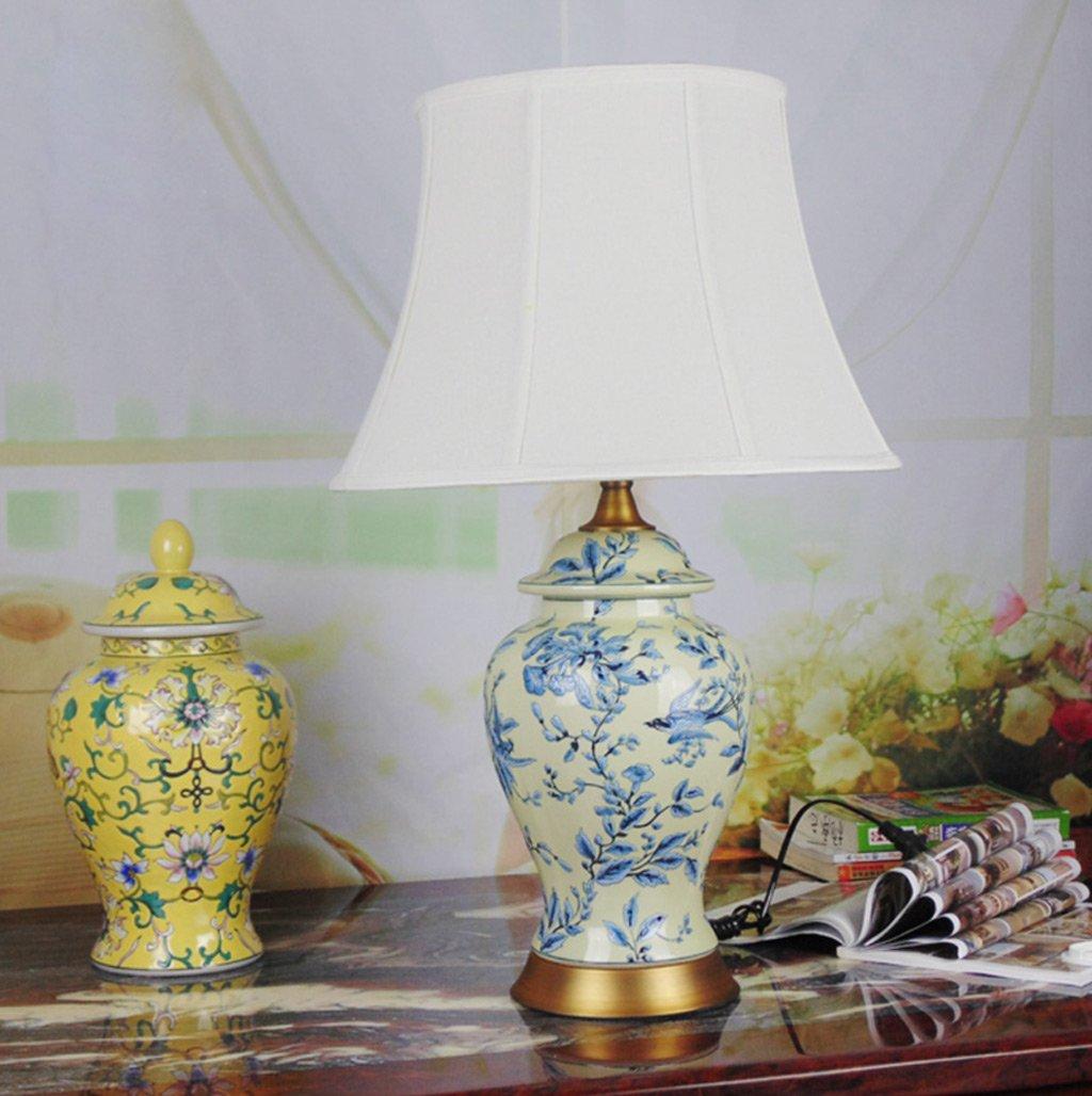 Blaue und weiße keramische Lampe Chinesische Tischlampe Lampe Wohnzimmer Schlafzimmer Beleuchtung