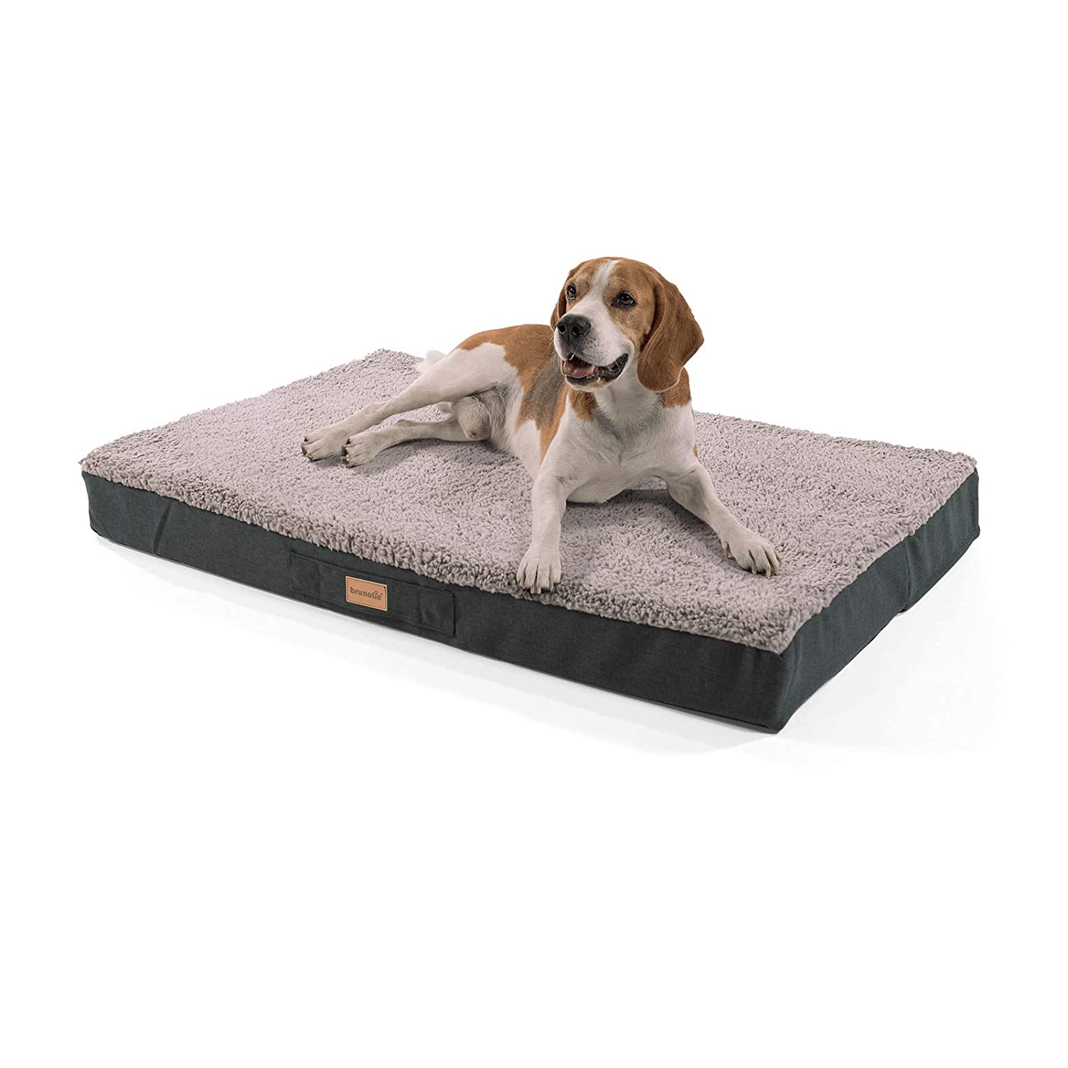 Grey large 100 x 65 cm grey large 100 x 65 cm brunolie  Balu small dog mat in grey – orthopaedic, washable and non-slip dog bed with cuddly plush, size L