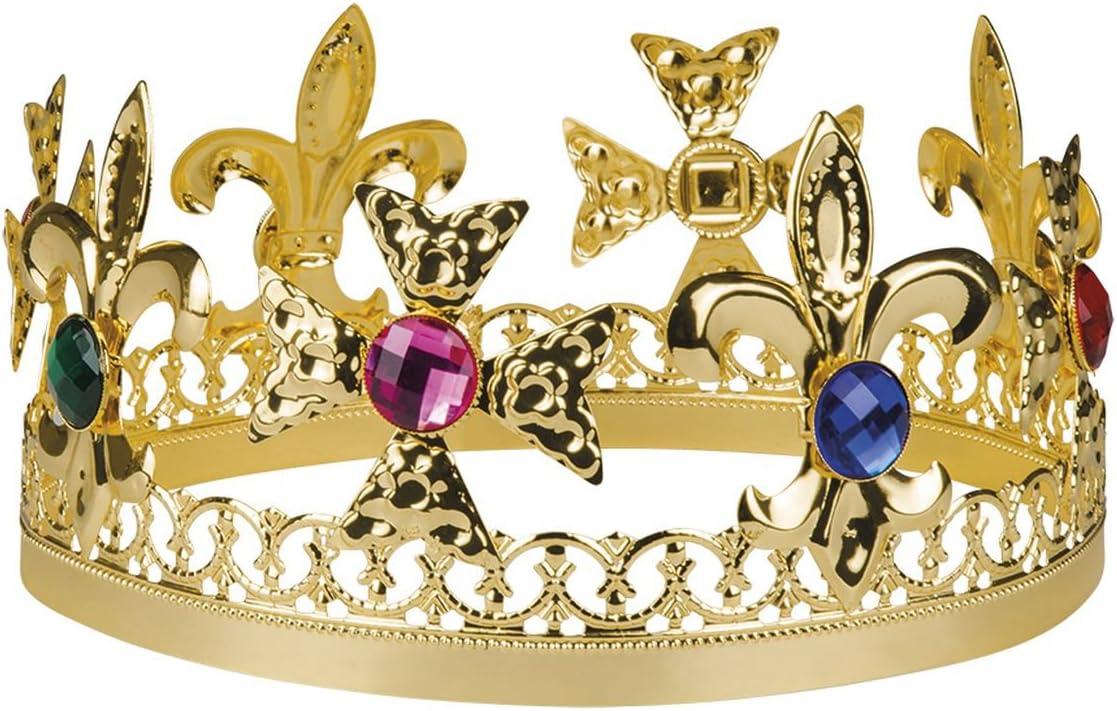 Corona de rey con piedras preciosas de imitación para adultos