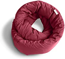 Huzi Infinity Pillow - Travel Pillow - Versatile Soft Neck Pillow for Sleep in Airplane, Train, Bus, Office (Burgundy)