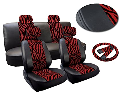 Red Zebra Deluxe Leatherette 13pc Full Car Seat Cover Set Premium Synthetic Leather Double Stitched