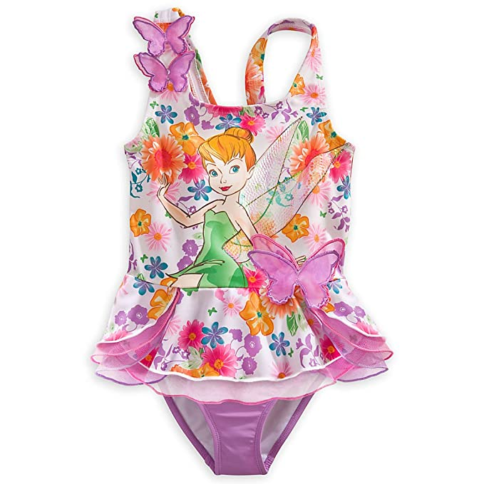 Disney Store Tinkerbell Fairy Swimsuit Size Small 5/6 (5T) Deluxe 2-Pc Swimwear