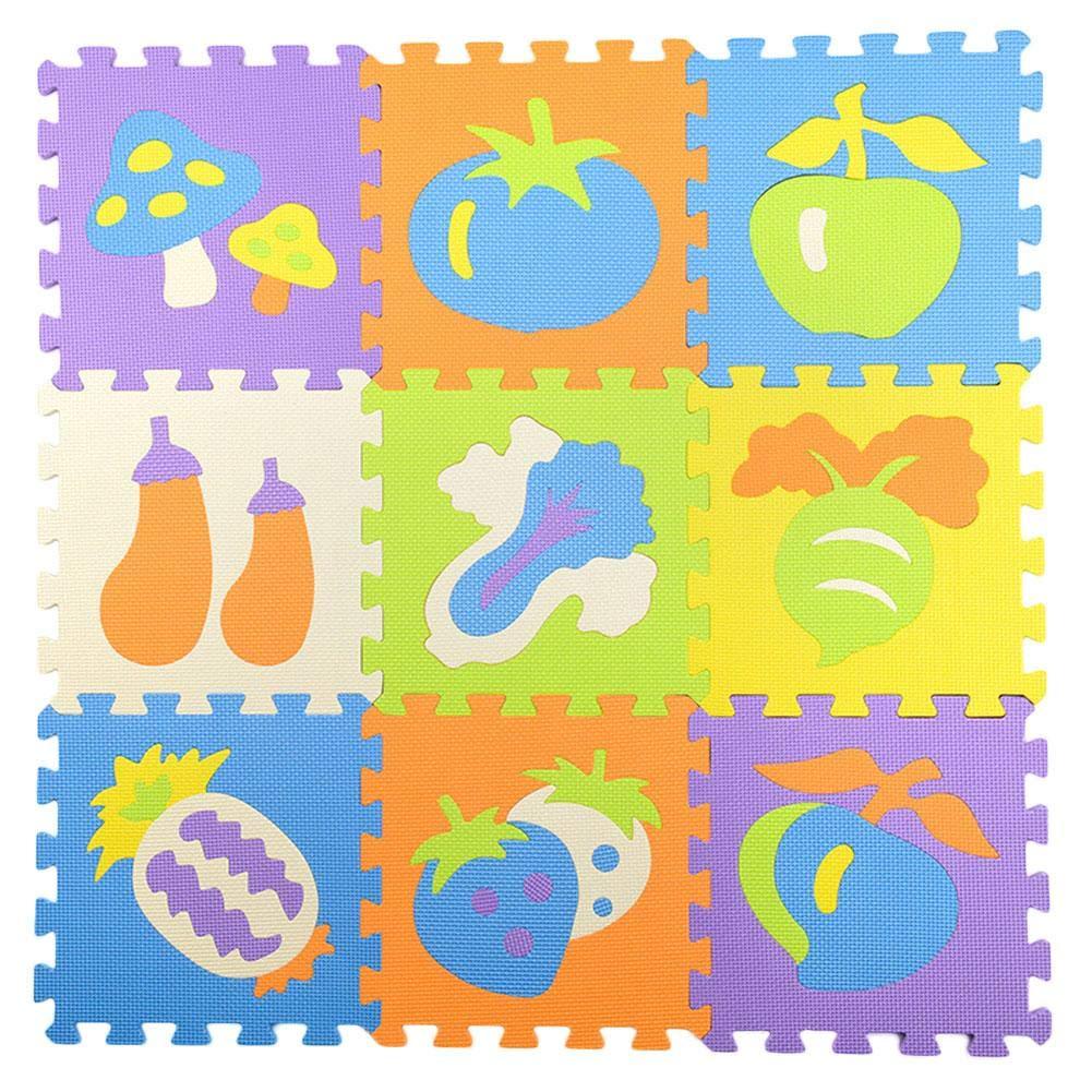 iBaste_Baby Crawling Mat 9 PCS per Set Splicing Mobilization EVA Fruits Vegetables Mats Children's Educational Toys Puzzle Crawling Mat