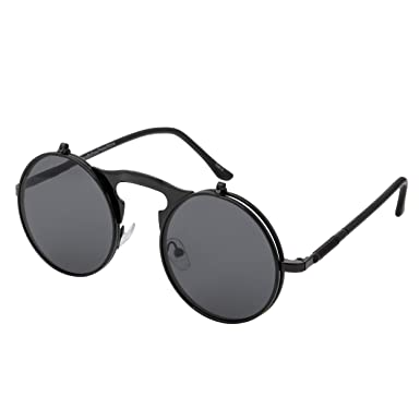 5f055242f236 Black with Black Lenses Flip up Circle Steampunk Sunglasses High Quality Goggles  Glasses Retro Round Cyber
