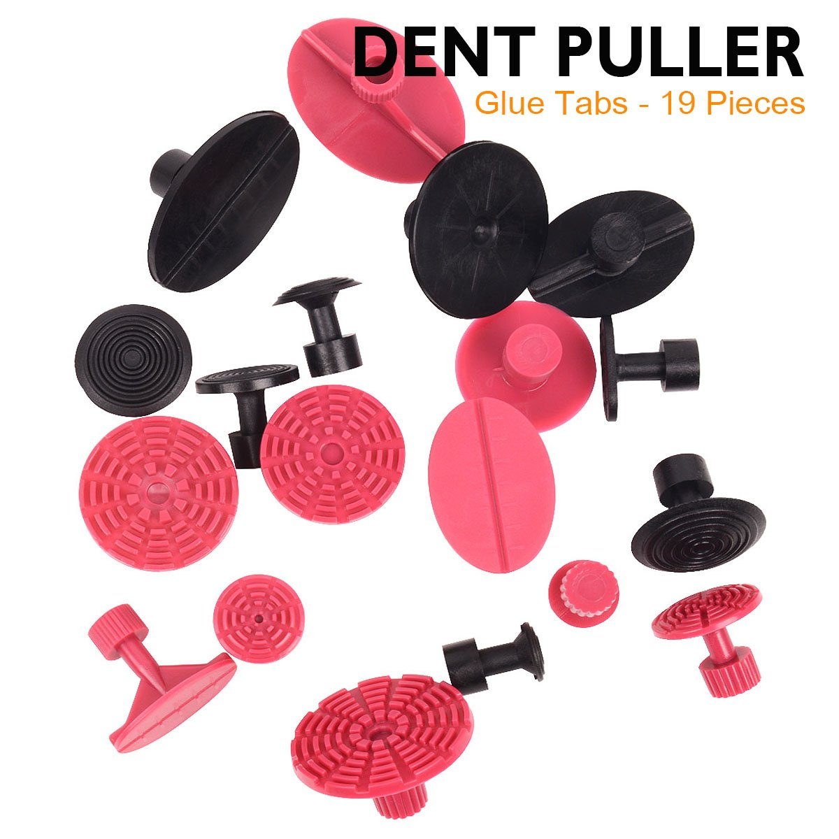 WHDZ Car Dent Repair Tools Dent Puller Paintless Removal Kit Black Dent Lifter with 19pcs Dent Removal Pulling Tabs Suction Cup Plate Pro Glue Sticks for Vehicle SUV Car Auto Body Hail Damage Remover by WHDZ (Image #5)
