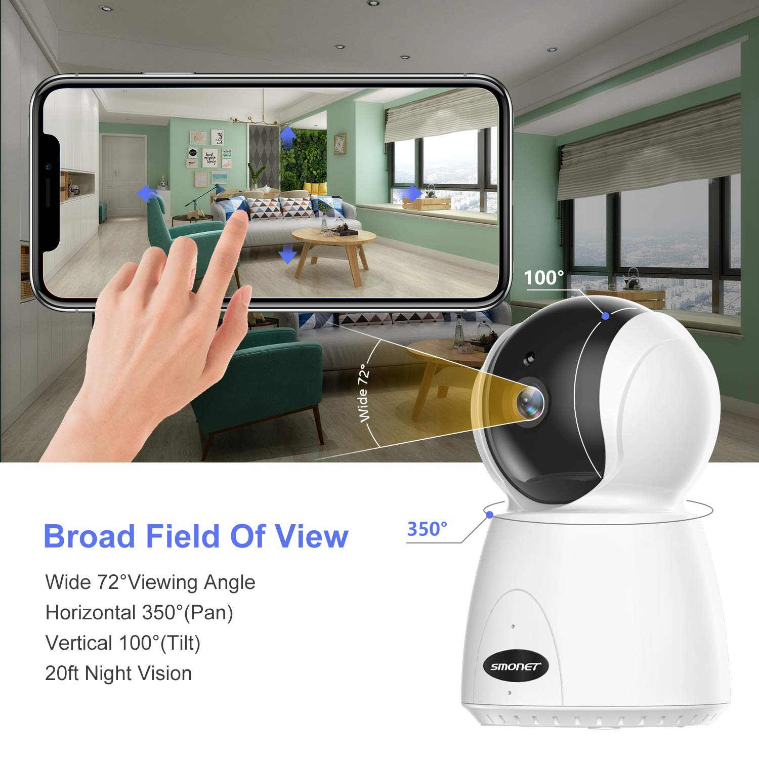 Home Security Camera, SMONET Indoor WiFi Camera with Motion Detection, Remote Control Via Mobile Phone, 1080P Full HD Non-Stop Monitoring On Baby Nanny Pet