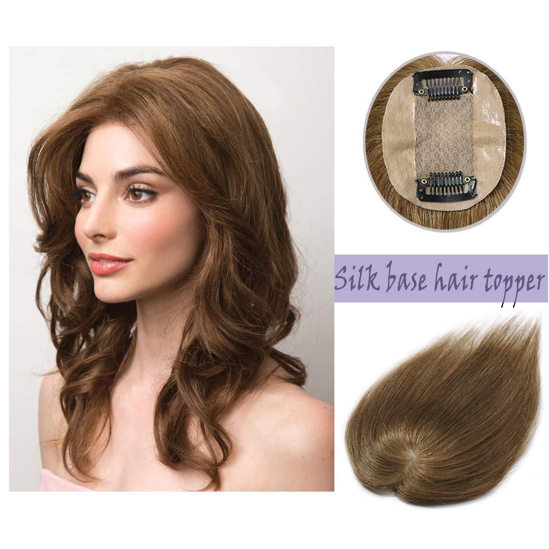 Silk Base Real Human Hair Topper for Women Top Hairpiece Clips in Crown Hand Made Toupee Replacement Extentions for Hair Loss Thinning Hair Cover Gray Hair #06 Light Brown 18''