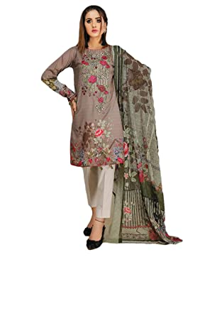 a91c5a98c3 Amazon.com: IshDeena Pakistani Party Dresses for Women. Ready to Wear.  Embroidery Salwar Kameez Suit: Clothing