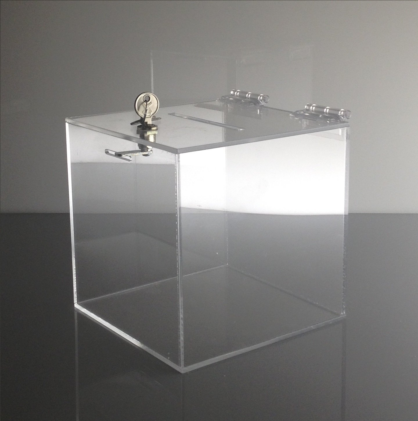 T'z Tagz Brand 8''L X 8''W X 8''H Acrylic Charity / Donation / Ballot / Tip Box Container with High Quality Cam Lock