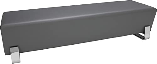 OFM Core Collection Axis Series Contemporary Triple Seating Bench, Textured Vinyl with Chrome Base, in Slate