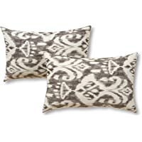 Greendale Home Fashions Rectangle Outdoor Accent Pillows in Coastal Ikat (Set of 2), Graphite