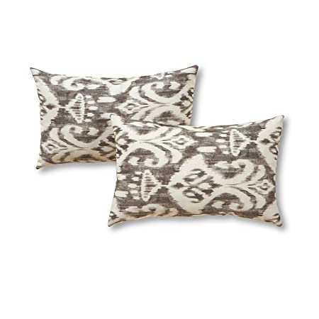 Greendale Home Fashions Rectangle Outdoor Accent Pillows in Coastal Ikat Set of 2 , Graphite