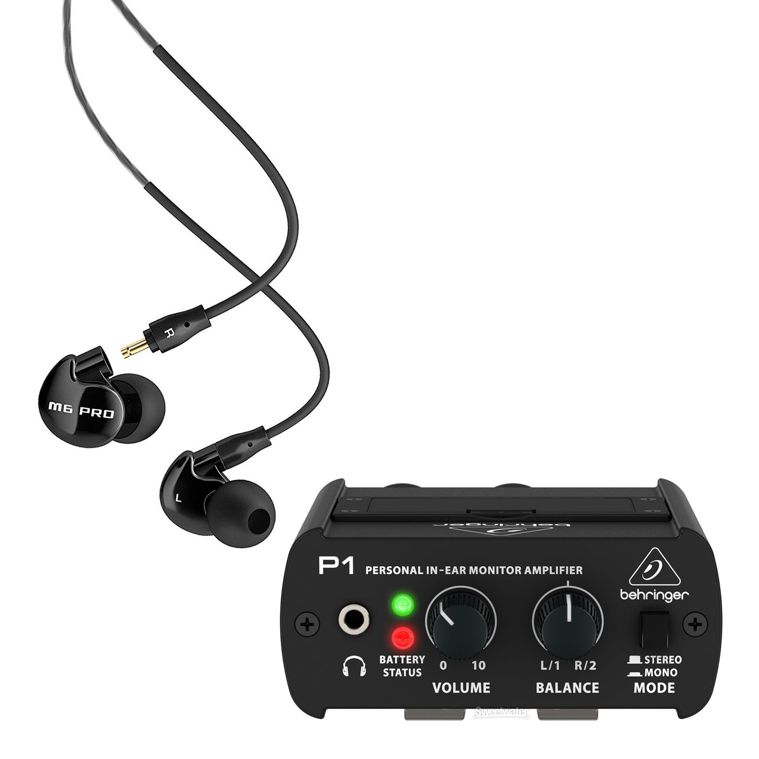 MEE Audio M6 PRO Noise-Isolating Musician's in-Ear Monitors, Jet Black -Includes- Behringer Powerplay P1 in-Ear Monitor Amplifier blucoil