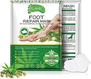 3 Pairs Foot Moisturizing Mask Moisturising Socks, HEMP Seed Oil Foot Skin Repair Renew Booties, Infused Collagen Vitamins for Dry, Aging, Cracked Heels Intense Skin Nutrition Foot Cream Mask