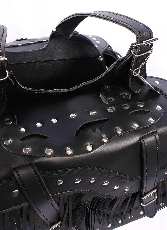 Cowboy Studded Black PU Leather Tassel Biker Panniers SD72 Motorbike Saddle Bag