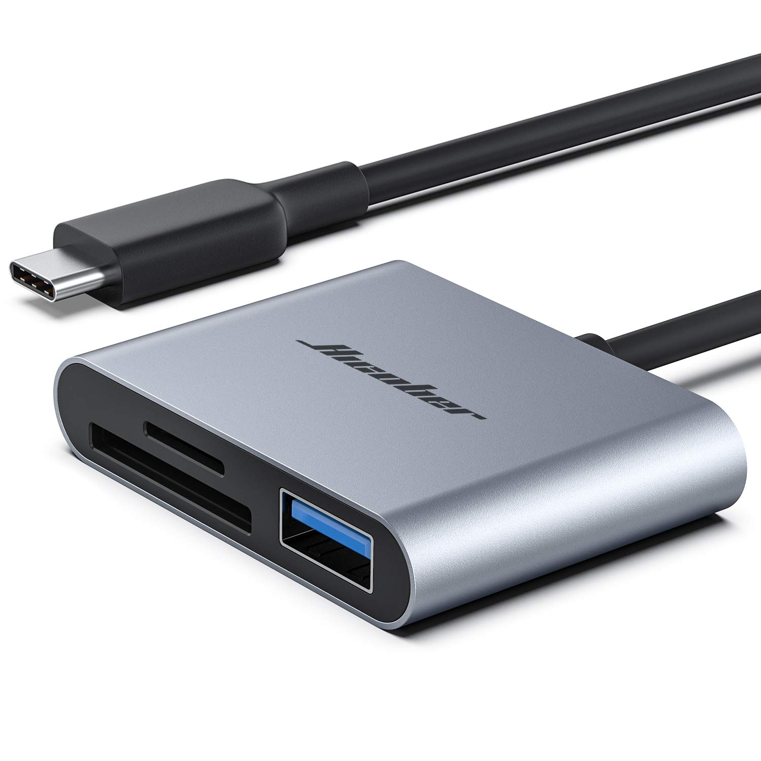 Hicober USB C to SD Card Reader, Micro SD Memory Card Reader, Type C to SD Card Reader Adapter 2TB Capacity for MacBook CameraAndroid Windows Linux and Other Type C Device-Space Grey by Hicober