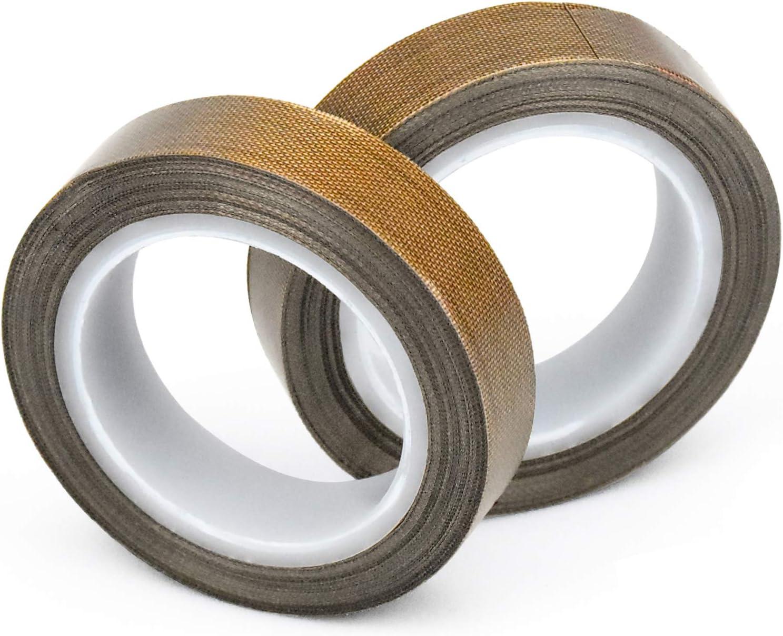 10m x 13mm x 0.13mm Selbstklebend PTFE Glasgewebeband//Glasklebeband Hitzebest/ändig bis 260/°C Hochtemperaturband WEKON 2 St/ück Teflonband High Temp Klebeband