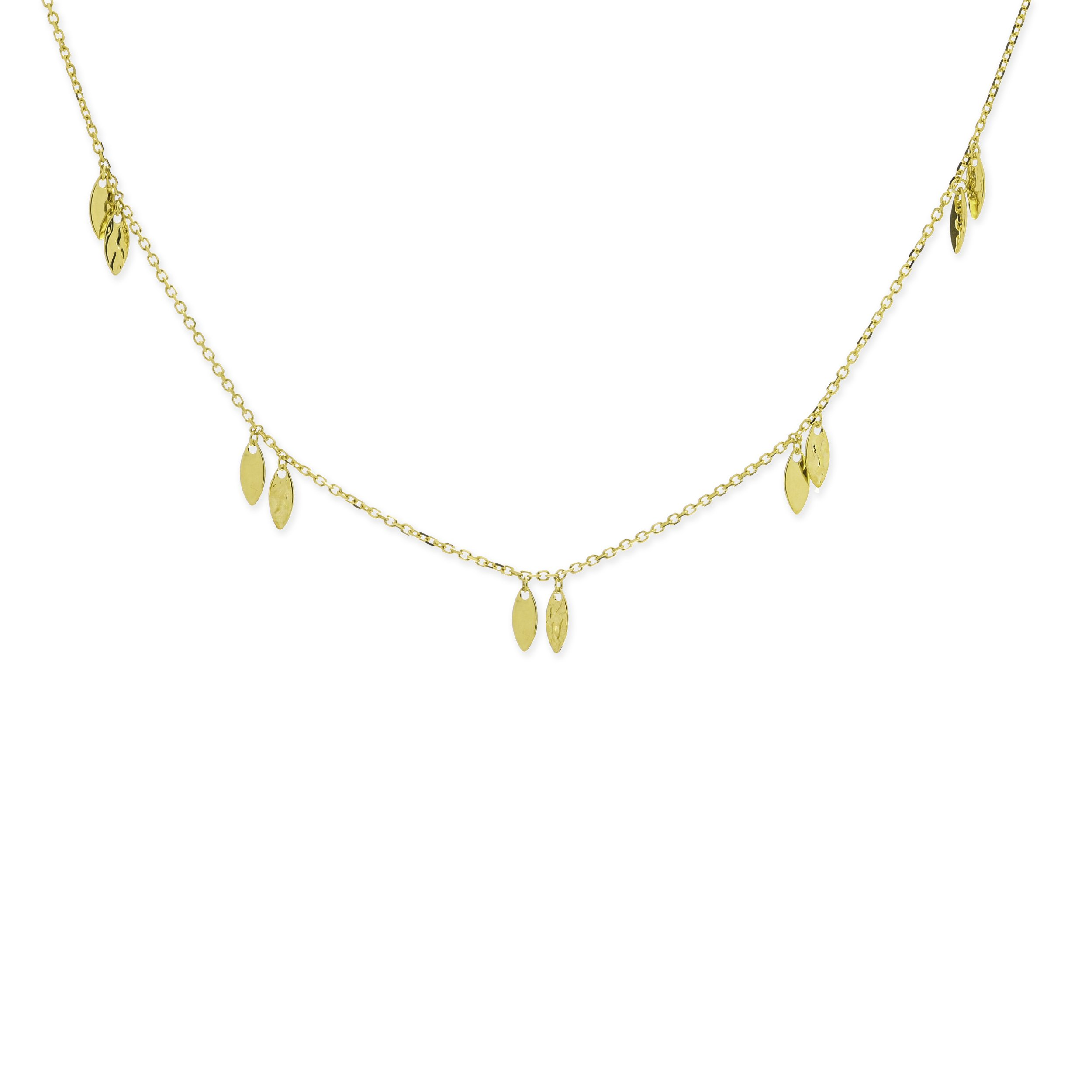 14k Yellow Gold Necklace Marquise-shape Hammered and Polished Drops Adjustable