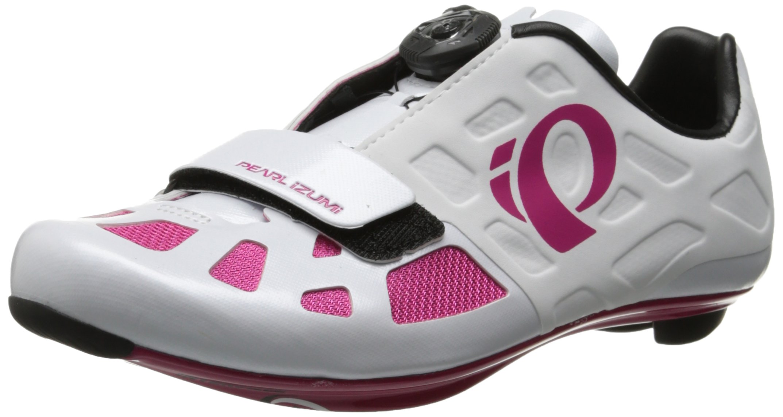 Pearl Izumi Women's W Elite RD IV Cycling Shoe, White/Pink Punch, 39.5 EU/7.9 B US by Pearl iZUMi