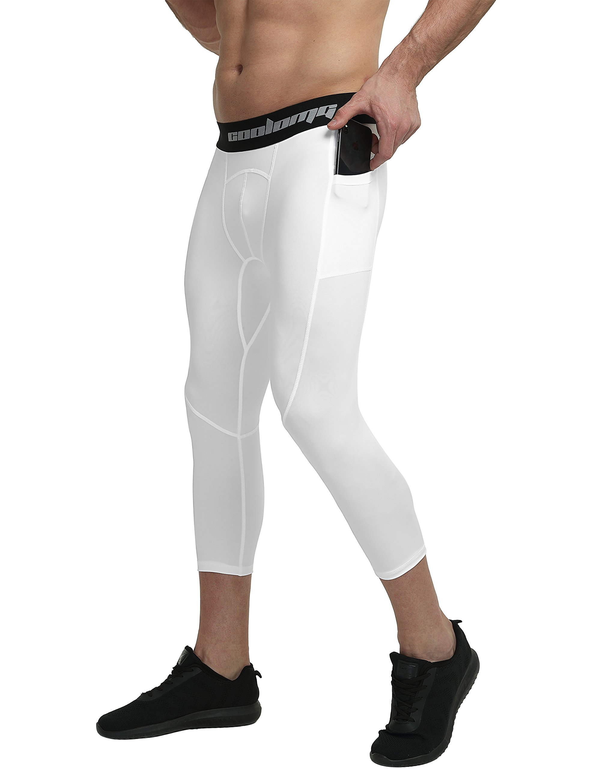 COOLOMG Compression Pants Running Tights 3/4 Capri