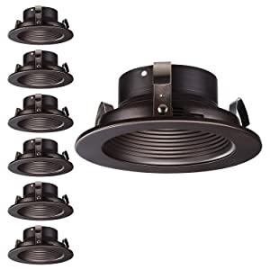 "TORCHSTAR 4 Inch Recessed Can Light Trim, Oil Rubbed Bronze Metal Step Baffle Trim, for PAR20, R20, BR20 Light Bulbs, for 4"" Recessed Cans, Halo/Juno Remodel Recessed Housing, Pack of 6"