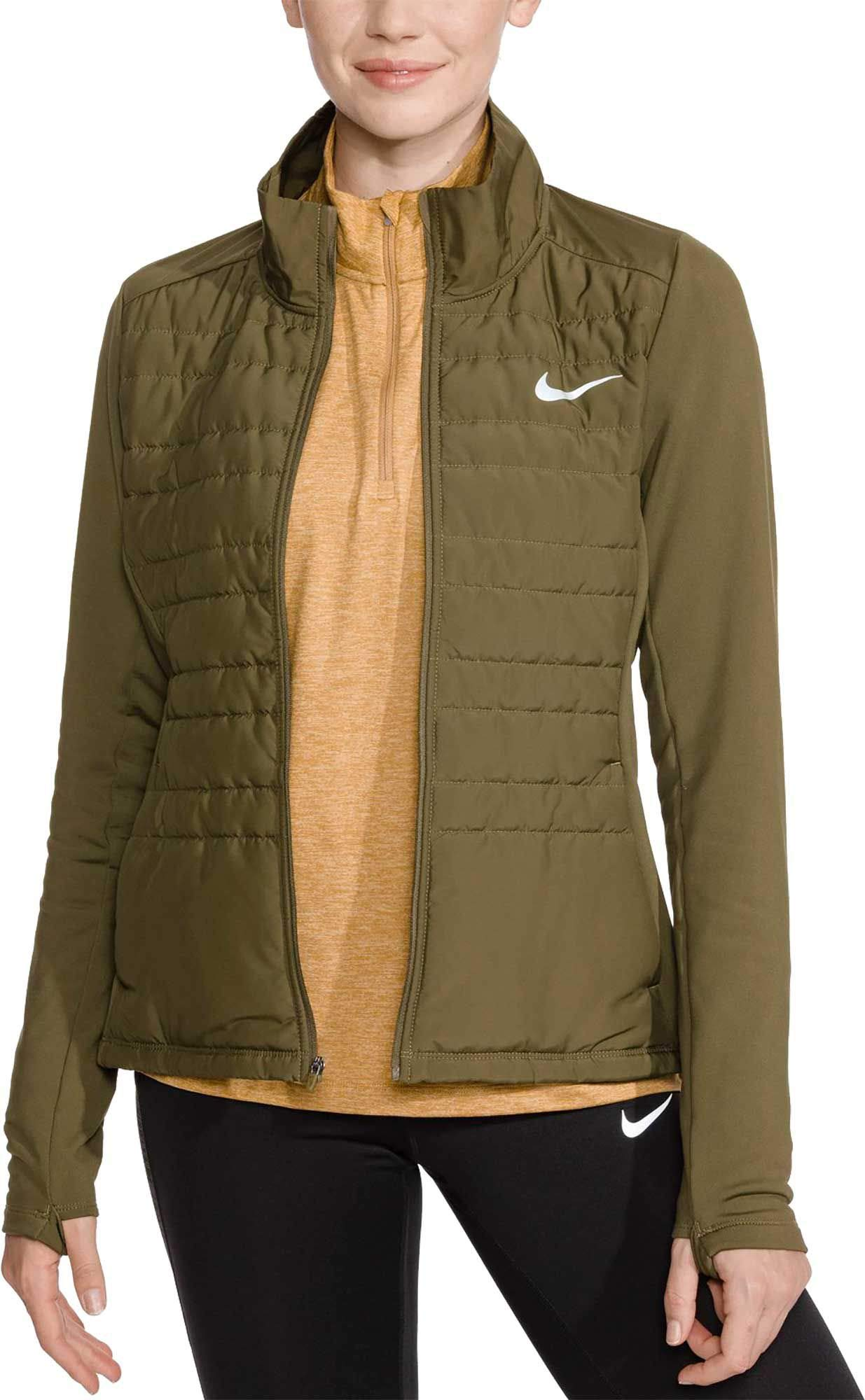 Nike Women's Essential Full Zip Running Jacket (Olive Canvas, Small)