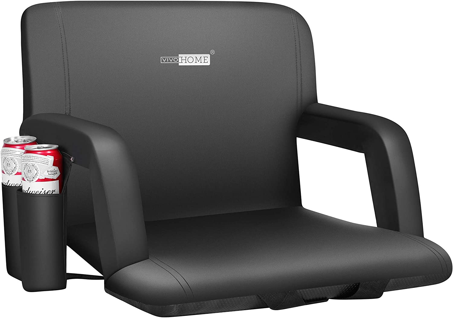 VIVOHOME 24.5 Inch Extra Wide Reclining Stadium Seat Chair with Backrest and Armrests, Portable Cushion for Bleachers