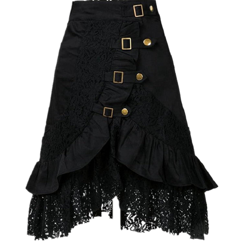 Taiduosheng Women's steampunk party club wear punk gothic retro black lace skirt M001