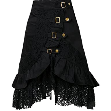 Taiduosheng Women s Steampunk Gothic Clothing Vintage Cotton Black Lace  Skirts Small 7f94de721bc