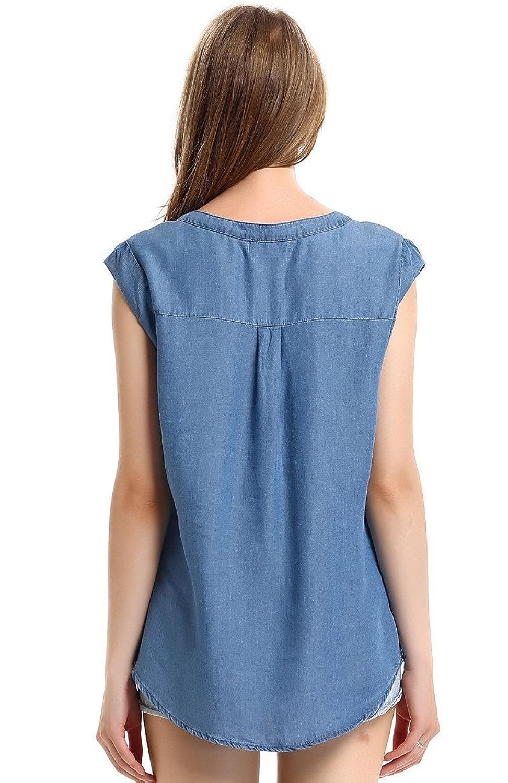 Escalier Women`s Sleeveless V-neck Tencel Denim Blouse Tank Tops