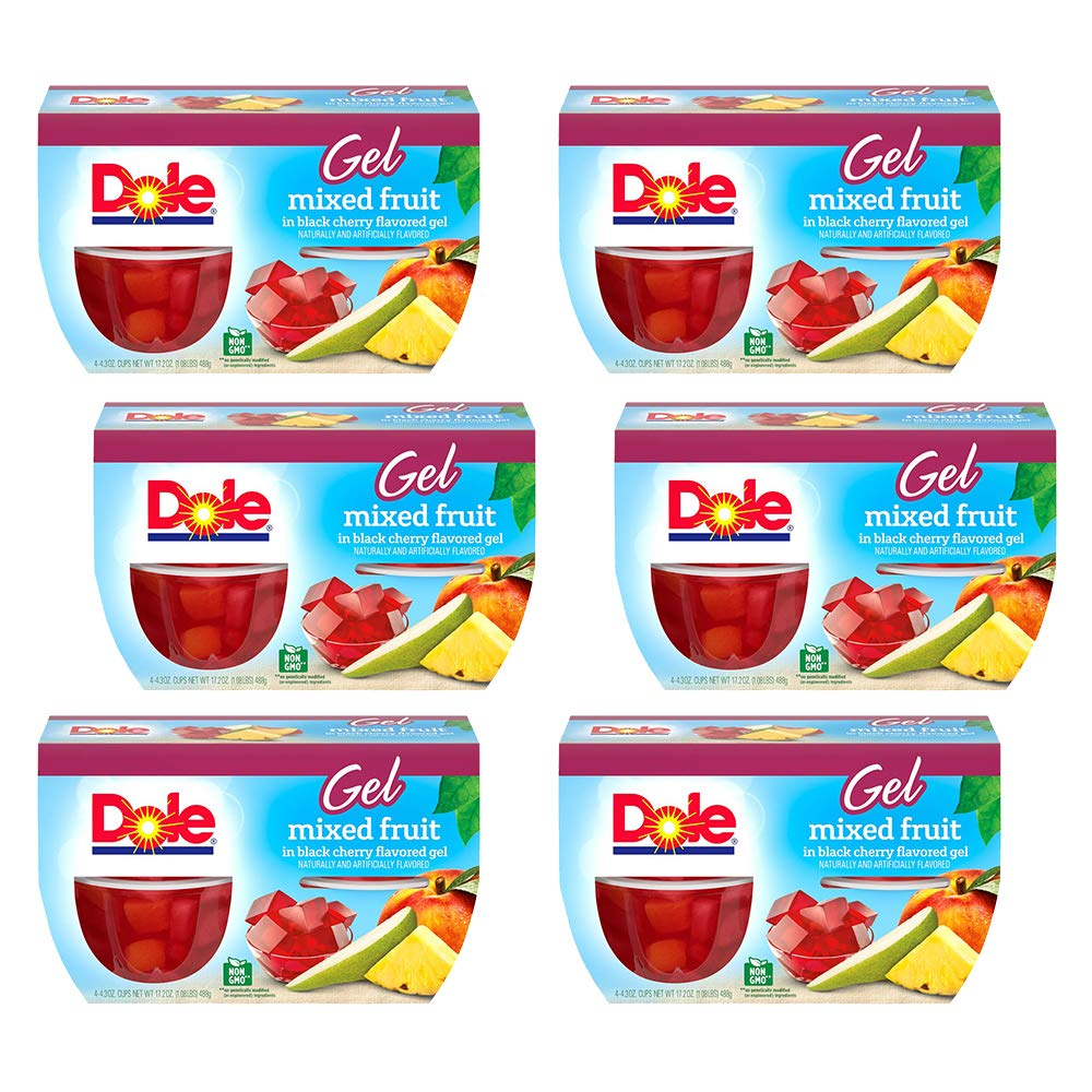 DOLE Fruit Bowls Mixed Fruit in Black Cherry Gel, 4 Cups (Pack of 6)