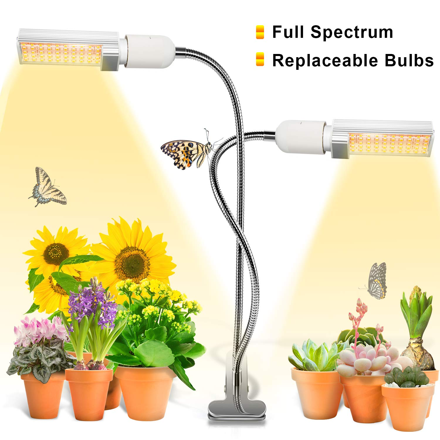 Grow Light, Ankace 50W Full Spectrum Grow Lamp, Dual Head Gooseneck Plant Lights for Indoor Plants with Replaceable Bulb, 3 Switch Modes