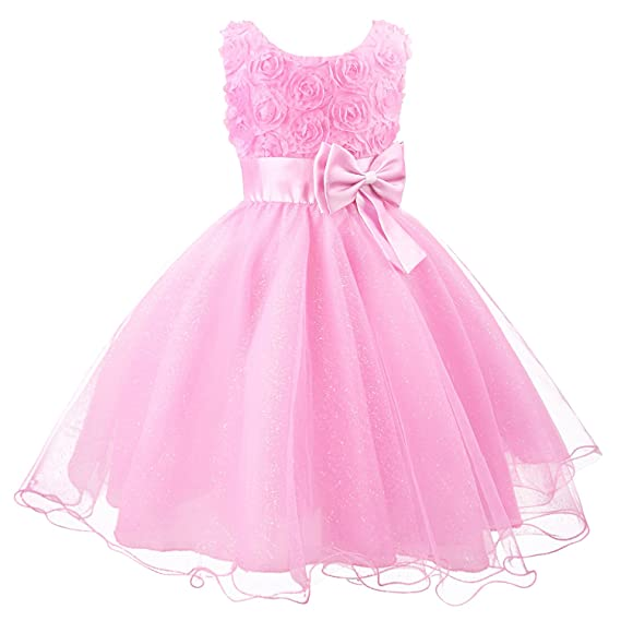 Discoball Girls Flower Dress Formal Wedding Damigella d onore Party  Battesimo Vestito da principessa in f91a1d162d8