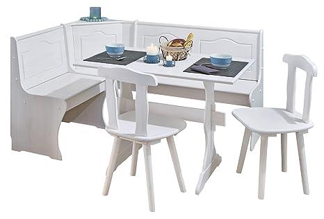 H24living Eckbankgruppe Eckbank Essgruppe Essecke Bank Sitzecken Tisch 2  Stühle Landhaus Stil Küche Massivholz Truhenfächer