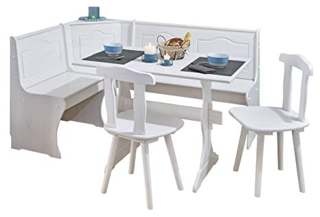 H24living Eckbankgruppe Eckbank Essgruppe Essecke Bank Sitzecken Tisch 2  Stühle Landhaus-Stil Küche Massivholz Truhenfächer Holz Kiefer Massiv  124-163 ...