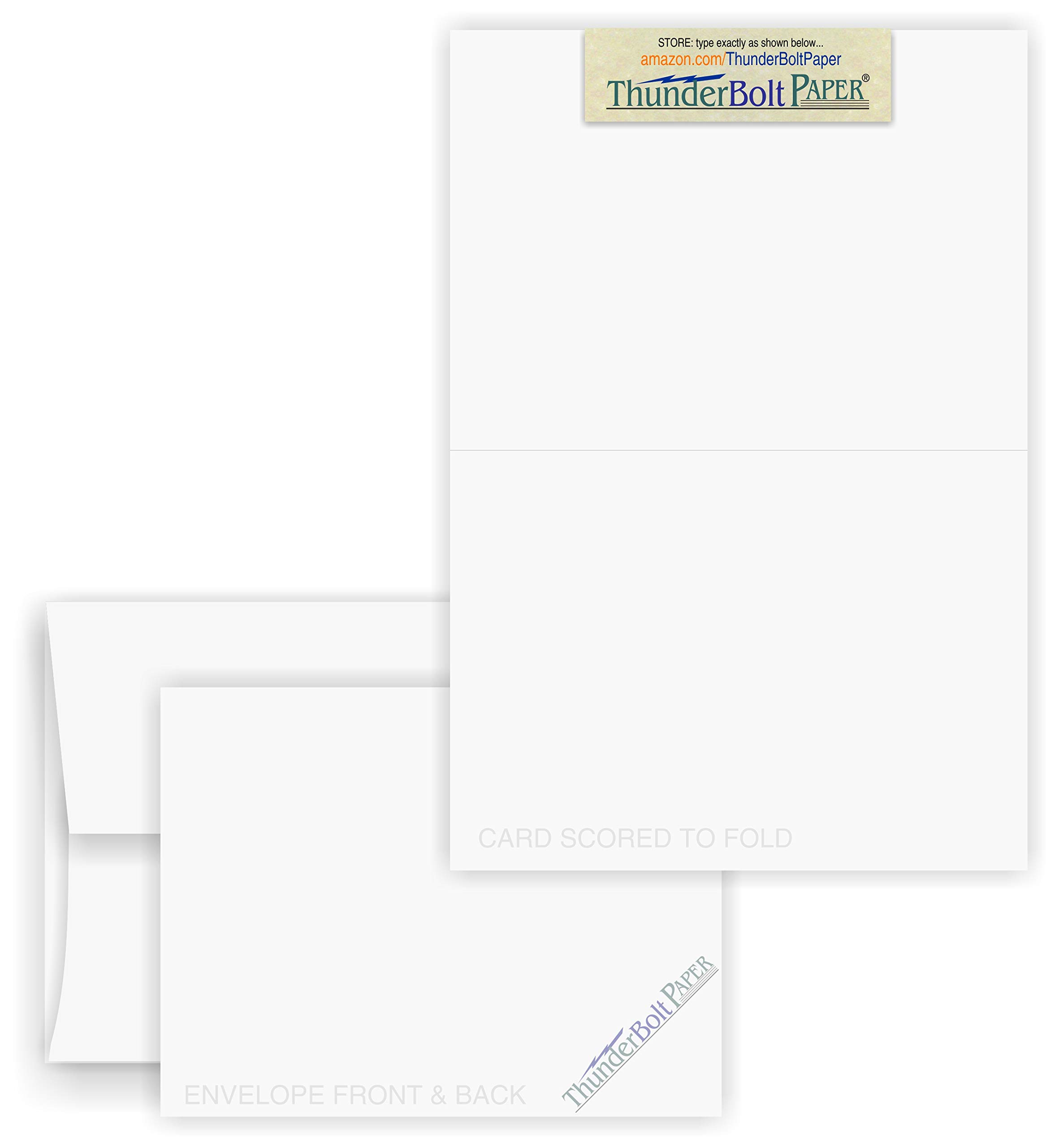 5X7 Folded Size with A-7 Envelopes - Smooth Bright White - 50 Sets (7X10 Cards Scored to Fold in Half) Blank Pack, Smooth Finish -Invitations, Greetings, Thank Yous, Notes, Occasions - 80# Cardstock