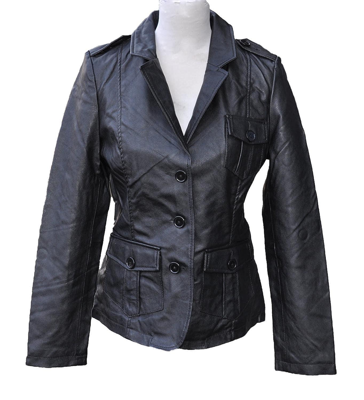 Damen Lederjacke Leder Blazer Jacke extra weich Kunstleder Schwarz 6440