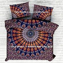 "Indian Queen Size Reversible Duvet Cover Handmade Quilt Doona Cover Art Mandala Duvet/Doona/Blanket/Quilt Cover Set Double/Queen Size Bed Cotton By ""Handicraft-Palace"""