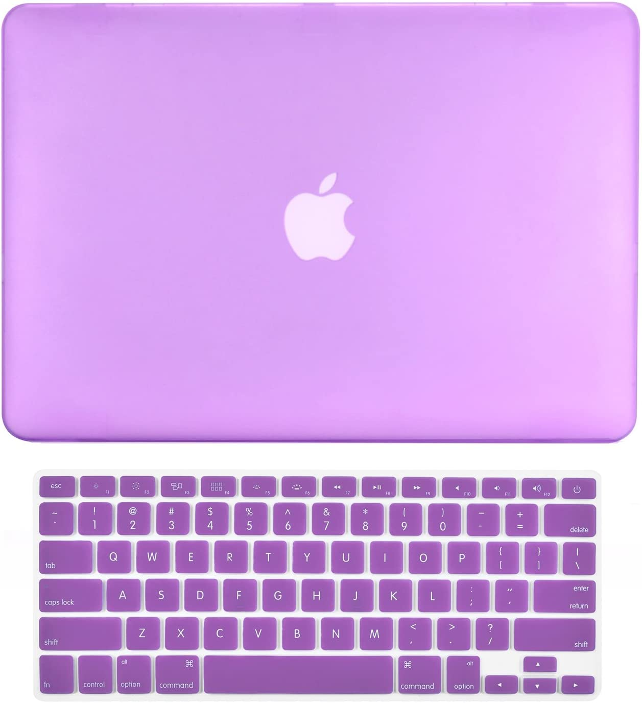 "TOP CASE - 2 in 1 Signature Bundle Rubberized Hard Case + Keyboard Cover Compatible MacBook White Unibody 13"" (A1342 / Oct 2009-2011) - Purple"