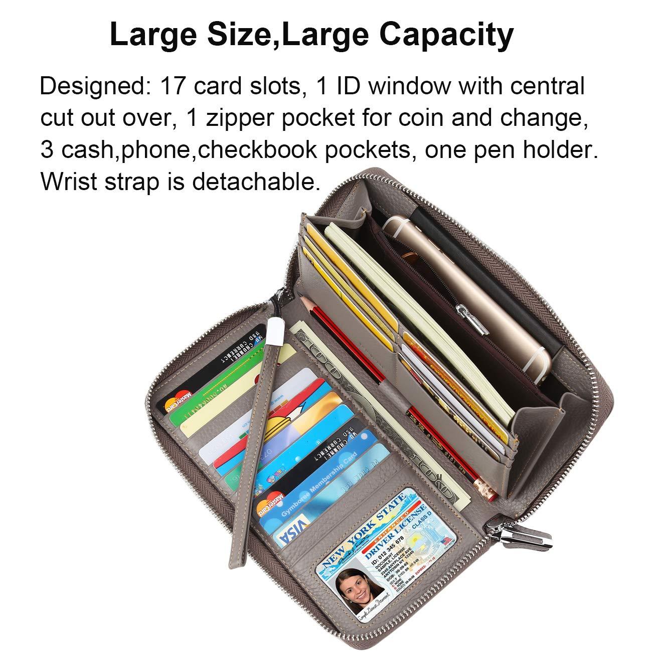 Lavemi Womens RFID Blocking Real Leather Zip Around Wallet Clutch Large Travel Purse Wristlet