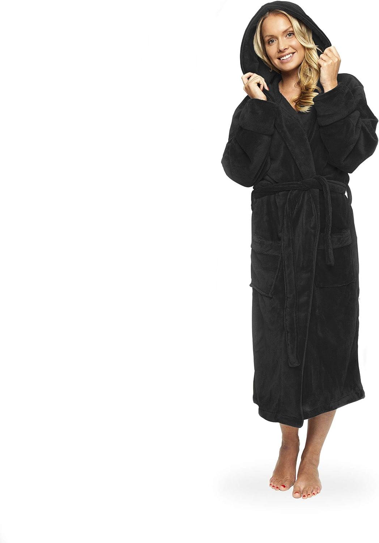Gräfenstayn Ladies  Mens Soft Fleece Bathrobe with Hood Size S-XXXL with Öko-Te