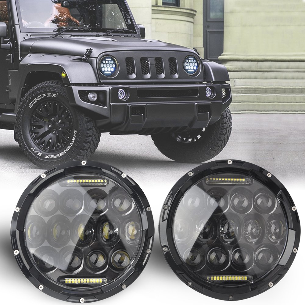 Issyzone 7Inch Round LED Headlight 2007-2015 Jeep Wrangler JK 70W/150W with Hi/Lo Beam Daytime Running Light(DRL) for 1997-2006 Jeep TJ with H4-to-H13 Adapter(One Pair)