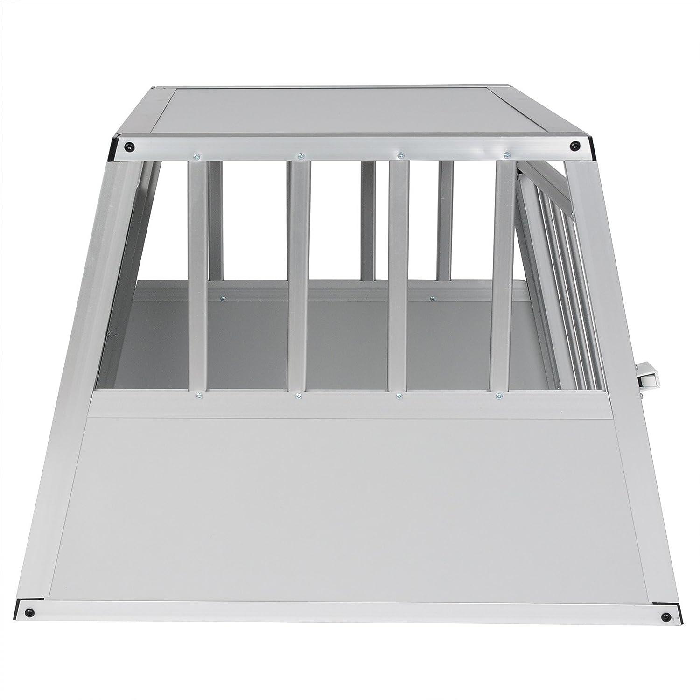 E-starain Gabbie da Trasporto per Cani in Alluminio Colore Bianco Gabbia per Cani Gatto Animali Piccoli 69x54x51cm Porta-Animali per Viaggio