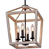 Q&S Farmhouse Rustic Chandelier Light Fixture,Oak White+ORB,Vintage Pendant Light Fixtures for Entryway Kitchen Island Dining
