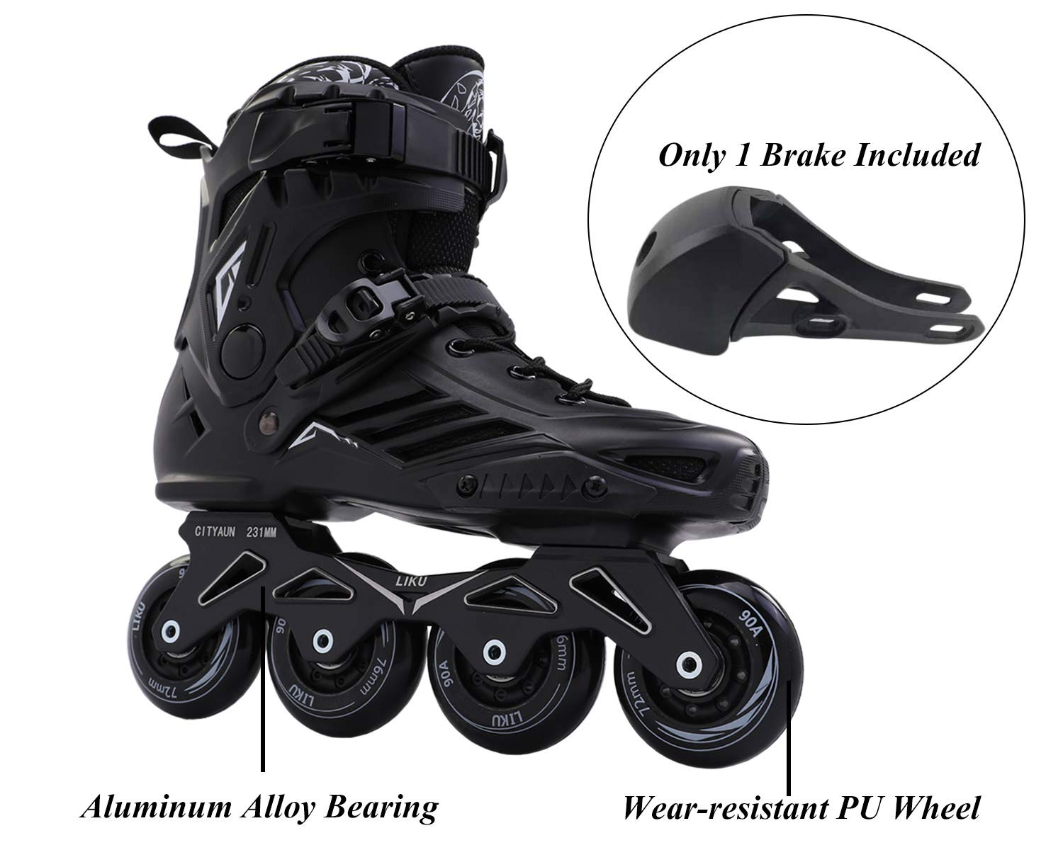 LIKU Fitness Professional Inline Roller Skates Women Men Adult Youth Black (Men 6.5,Women 7.5) by LIKU (Image #2)