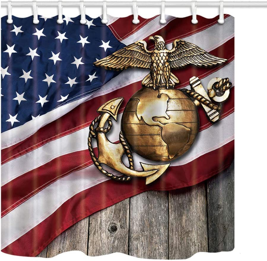 KOTOM Marine Eagle Shower Curtain, Globe and Anchor with American Flag Background, Polyester Fabric Bath Curtains for Bathroom, 69X70in, Bath Accessories 12 Hooks Included