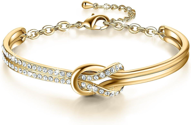 NinaMaid Pulsera Mujer con Cristales de Swarovski Chapado en Oro ...