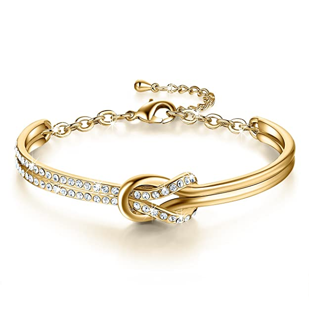 NinaMaid Clear Swarovski Crystals Element Bracelet Simple Knot Design Oval Shaped Gold Plated Bangle 7 Inches (White) 1pT19Q