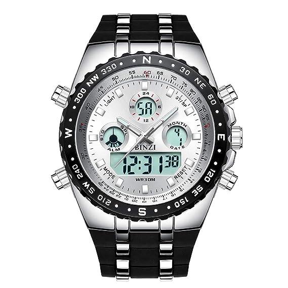 901450aa915f binzi Hombre militaer Digital Reloj Resistente al agua deporte cuarzo reloj  de hombre Dual de pantalla con banda de silicona negro y XXL Size   Amazon.es  ...