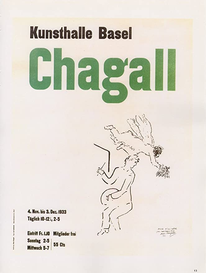 """1989 VINTAGE /""""CHAGALL KUNSTHALLE BASEL/"""" SCHWABE MINI POSTER COLOR Art Lithograph"""